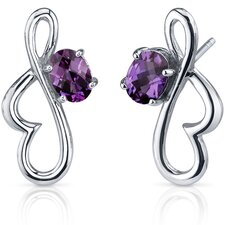 Rhythmic Curves 2.00 Carats Alexandrite Oval Cut Earrings in Sterling Silver