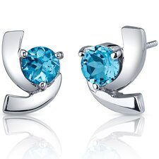 Illuminating 2.00 Carats Swiss Blue Topaz Round Cut Earrings in Sterling Silver