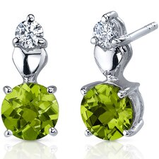 Gleaming Heart 1.50 Carats Peridot Round Cut Cubic Zirconia Earrings in Sterling Silver