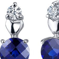 Gleaming Heart 2.00 Carats Blue Sapphire Round Cut Cubic Zirconia Earrings in Sterling Silver