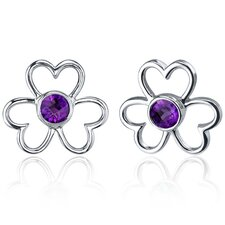 Floral Heart Design Round Cut Earrings in Sterling Silver