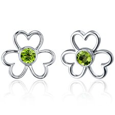 Floral Heart Design 1.00 Carat Peridot Round Cut Earrings in Sterling Silver