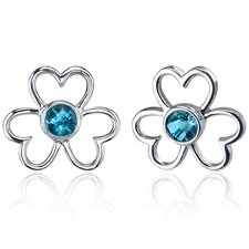 Floral Heart Design 1.00 Carat London Blue Topaz Round Cut Earrings in Sterling Silver