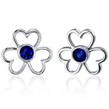 Floral Heart Design 1.50 Carats Blue Sapphire Round Cut Earrings in Sterling Silver