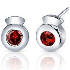 Sleek Radiance 1.00 Carat Garnet Round Cut Earrings in Sterling Silver