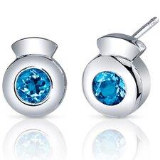 Sleek Radiance 1.50 Carats Swiss Blue Topaz Round Cut Earrings in Sterling Silver