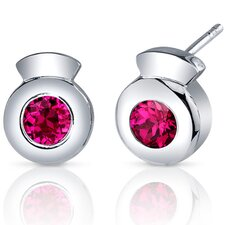 Sleek Radiance 1.50 Carats Ruby Round Cut Earrings in Sterling Silver
