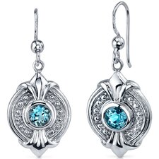 Ornate 1.00 Carat London Blue Topaz Round Cut Dangle Earrings in Sterling Silver