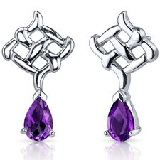 <strong>Oravo</strong> Ornate Exuberance 1.50 Carats Amethyst Pear Shape Earrings in Sterling Silver