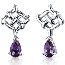 Ornate Exuberance 2.00 Carats Alexandrite Pear Shape Earrings in Sterling Silver