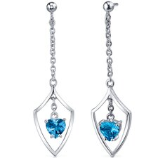 Dynamic Love 2.00 Carats Swiss Blue Topaz Heart Shape Dangle Earrings in Sterling Silver