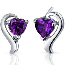 <strong>Oravo</strong> Cupids Harmony Gemstone Heart Shape Earrings in Sterling Silver