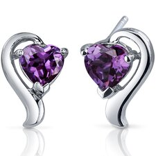 Cupids Harmony 2.00 Carats Alexandrite Heart Shape Earrings in Sterling Silver