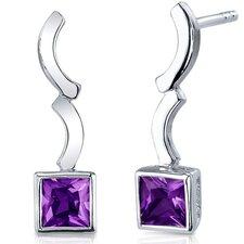 Modern Curves Gemstone Princess Cut Earrings in Sterling Silver