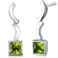 <strong>Oravo</strong> Modern Curves 1.50 Carats Peridot Princess Cut Earrings in Sterling Silver