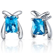 Striking Color 2.00 Carats Swiss Blue Topaz Radiant Cut Earrings in Sterling Silver