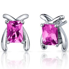 Striking Color 2.50 Carats Pink Sapphire Radiant Cut Earrings in Sterling Silver