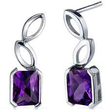 Elegant Leaf Design Gemstone Radiant Cut Earrings in Sterling Silver