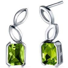Elegant Leaf Design 2.00 Carats Peridot Radiant Cut Earrings in Sterling Silver