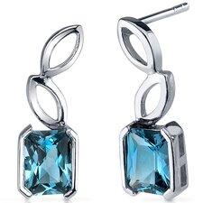Elegant Leaf Design 2.00 Carats London Blue Topaz Radiant Cut Earrings in Sterling Silver