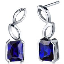 Elegant Leaf Design 2.50 Carats Blue Sapphire Radiant Cut Earrings in Sterling Silver