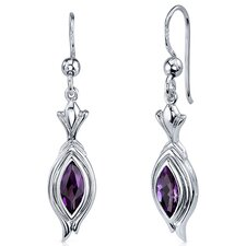 Dynamic Dangle 1.00 Carat Gemstone Marquise Cut Earrings in Sterling Silver