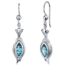 Dynamic Dangle 1.00 Carat London Blue Topaz Marquise Cut Earrings in Sterling Silver