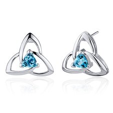 Modern Captivating Spiral 1.00 Carat Swiss Blue Topaz Trillion Cut Earrings in Sterling Silver