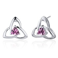 Modern Captivating Spiral 1.00 Carat Pink Sapphire Trillion Cut Earrings in Sterling Silver