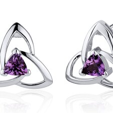 <strong>Oravo</strong> Modern Captivating Spiral 1.00 Carat Gemstone Trillion Cut Earrings in Sterling Silver