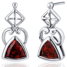 Ornate Class 2.00 Carats Garnet Trillion Cut Earrings in Sterling Silver