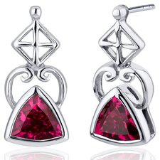 Ornate Class 2.00 Carats Ruby Trillion Cut Earrings in Sterling Silver