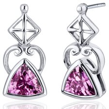 Ornate Class 2.00 Carats Pink Sapphire Trillion Cut Earrings in Sterling Silver