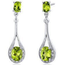 Glamorous 4.00 carats Peridot Oval Cut Dangle Diamond CZ Earrings in Sterling Silver