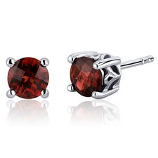 <strong>Oravo</strong> Scroll Design 2.00 Carats Garnet Round Cut Stud Earrings in Sterling Silver