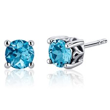 Scroll Design 2.00 Carats Swiss Blue Topaz Round Cut Stud Earrings in Sterling Silver