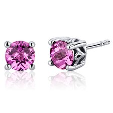 Scroll Design 2.00 Carats Pink Sapphire Round Cut Stud Earrings in Sterling Silver