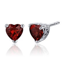 2.00 Carats Garnet Heart Shape Stud Earrings in Sterling Silver