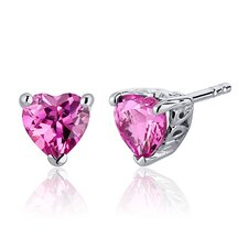 2.00 Carats Pink Sapphire Heart Shape Stud Earrings in Sterling Silver