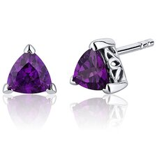 1.50 Carats Amethyst Trillion Cut V Prong Stud Earrings in Sterling Silver