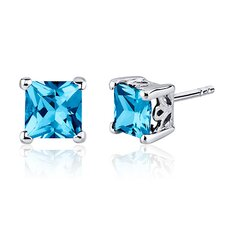 2.50 Carats Swiss Blue Topaz Princess Cut Scroll Design Stud Earrings in Sterling Silver