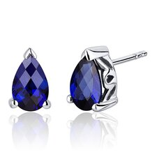 2.00 Carats Blue Sapphire Pear Shape Basket Style Stud Earrings in Sterling Silver