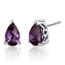 2.00 Carats Alexandrite Pear Shape Basket Style Stud Earrings in Sterling Silver