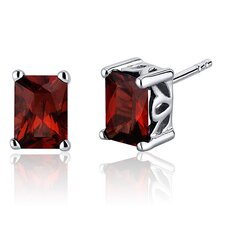 Radiant Cut 2.50 Carats Garnet Stud Earrings in Sterling Silver