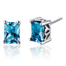 Radiant Cut 2.00 Carats Swiss Blue Topaz Stud Earrings in Sterling Silver
