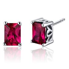 Radiant Cut 2.50 Carats Ruby Stud Earrings in Sterling Silver