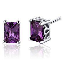 Radiant Cut 2.50 Carats Alexandrite Stud Earrings in Sterling Silver