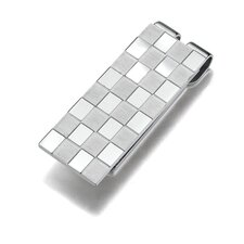 Stainless Steel Chessboard Style Dual finish Money clip for Men