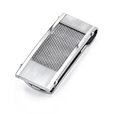 Stainless Steel Matte Finish Money Clip with Carbon Fiber
