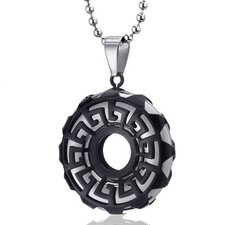 Art Deco Stainless Steel Greek Key Circle Pendant